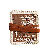 Stamps held by rubber band from Denmark