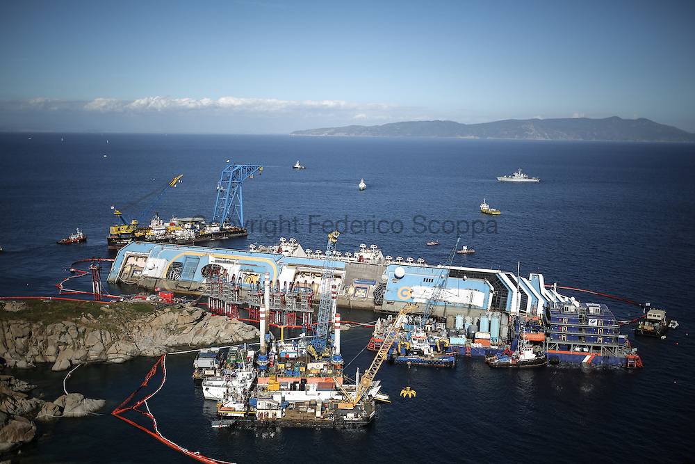 The Costa Concordia removal operation yard from the top of the Giglio island hills