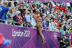 Olympics - London 2012 Olympic Games -.Beach Volleyball - Women's bronze match - Brazil's Larissa Franca .© pixathlon