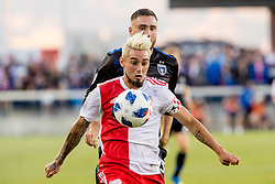 June 13, 2018 - San Jose, CA, U.S. - SAN JOSE, CA - JUNE 13: New England Revolution Midfielder Diego Fagundez (14) chases down a ball during the MLS game between the New England Revolution and the San Jose Earthquakes on June 13, 2018, at Avaya Stadium in San Jose, CA. The game ended in a 2-2 tie. (Photo by Bob Kupbens/Icon Sportswire) (Credit Image: © Bob Kupbens/Icon SMI via ZUMA Press)