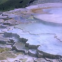 YELLOWSTONE NATIONAL PARK, WYOMING. Hikers below thermal pools at Mammoth Hot Springs.