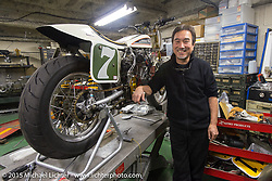 Custom bike builder Keiji Kawakita on a visit to his shop Hot Dock Custom Motorcycles. Tokyo, Japan. December 8, 2015.  Photography ©2015 Michael Lichter.