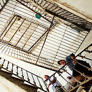 A stairwell inside and rundown apartment building in Havana, Cuba.