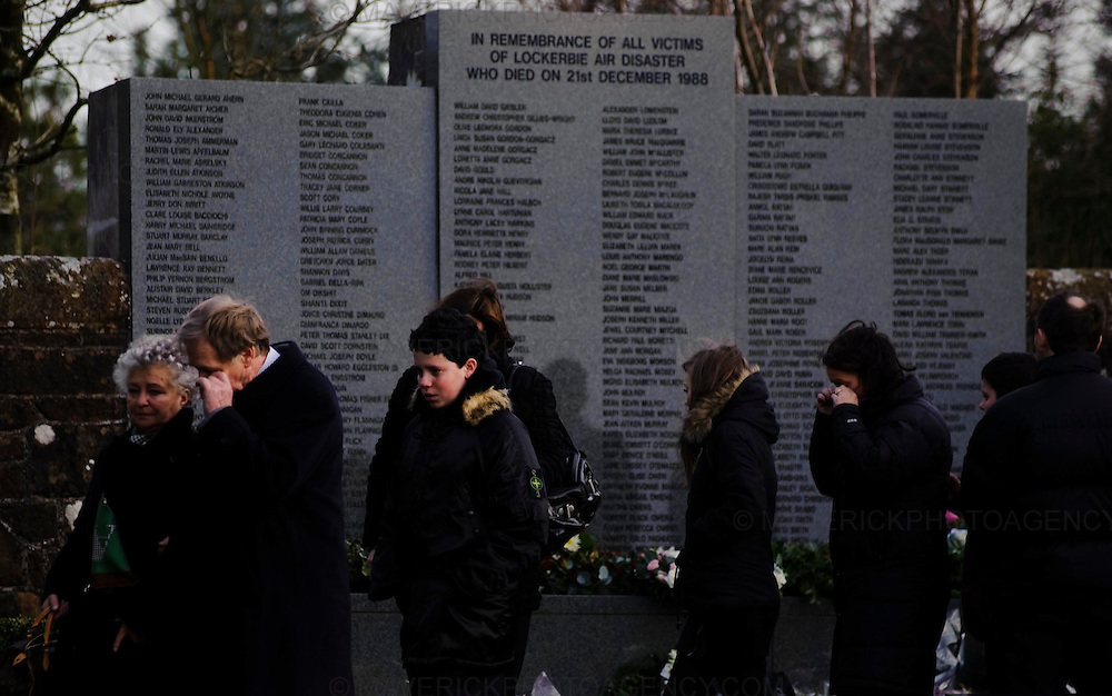 A service was held today at Drysdale Cemetary near the town Lockerbie in the Scottish Borders to mark the 20th Anniversary of the Lockerbie Bombing.  On the 21st December 1988 at 19:03 Boeing 747-121, N739PA ñMaid of the Seasî, operating on Pan American World Airways Flight 103 from London Heathrow to New York Kennedy Airport and cruising at 31,000 feet exploded at position 55Á 07? N / 003Á 21? W above Lockerbie, Dumfriesshire, Scotland. All 16 aircrew and 243 passengers aboard the aircraft died. Two major portions of the aircraft wreckage fell on the town of Lockerbie, the impact and resulting fireball accounting for the lives of 11 residents of the town: 21 homes had to be demolished and many more required substantial repairs.