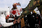Some protesters carried out role-plays acting out the input of the Sri Lankan Government