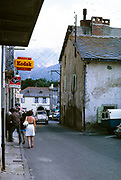 Historic building and streets in village of Mont-Louis, Occitanie, France, 1973