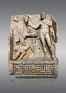 Roman Sebasteion relief  sculpture of Royal Hero with hunting dogs,  Aphrodisias Museum, Aphrodisias, Turkey. <br /> <br /> A diademed youth stands with his horse and hunting dogs. At the left an oval shield (foreign) hangs from a leafless tree, against which leans a long thin club. The Royal hero in this and the relief to the left is probably a local founder such as Assyrian King Ninos, claimed as founder of their city by the Aphrodisians. .<br /> <br /> If you prefer to buy from our ALAMY STOCK LIBRARY page at https://www.alamy.com/portfolio/paul-williams-funkystock/greco-roman-sculptures.html . Type -    Aphrodisias     - into LOWER SEARCH WITHIN GALLERY box - Refine search by adding a subject, place, background colour, museum etc.<br /> <br /> Visit our ROMAN WORLD PHOTO COLLECTIONS for more photos to download or buy as wall art prints https://funkystock.photoshelter.com/gallery-collection/The-Romans-Art-Artefacts-Antiquities-Historic-Sites-Pictures-Images/C0000r2uLJJo9_s0