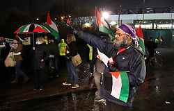 Free Palestine protesters outside Hampden Park before the UEFA Nations League, Group C1 match at Hampden Park, Glasgow.