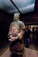 One of seven high ranking officers found in the pits.  Terracotta Warriors, Terracotta Army of Emperor Qin Shi Huang, the first emperor of China. The Army was buried with the Emperor in about  210–209 BCE. Their purpose was to protect the emperor in the afterlife. Xi'an, Shaanxi Province, China.
