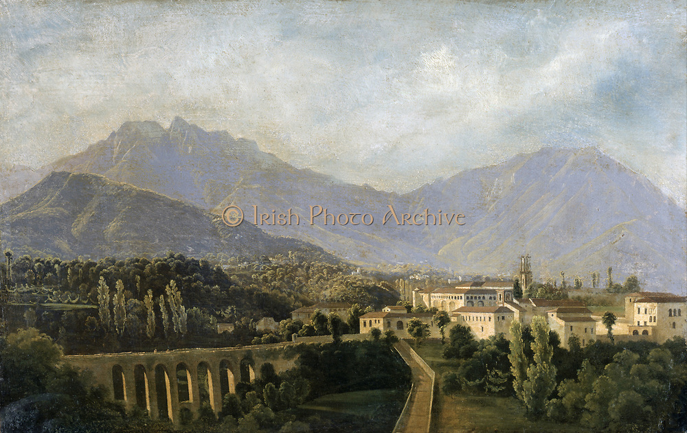 View in Italy: 1811, oil on canvas. Jean Joseph Xavier Bidault (1758-1846) French painter. Bidault spent many years in Italy painting 'tourist' landscpaes.