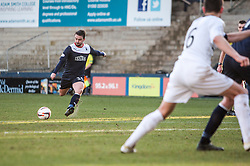 Falkirk's Mark Millar scoring their fourth goal.<br /> Raith Rovers 2 v 4 Falkirk, Scottish Championship game today at Starks Park.<br /> © Michael Schofield.