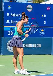 August 5, 2018 - San Jose, CA, U.S. - SAN JOSE, CA - AUGUST 05: Maria Sakkari (GRE) shows some frustration during the WTA Singles Championship at the Mubadala Silicon Valley Classic  at the San Jose State University Stadium Court in San Jose, CA  on Sunday, August 5, 2018. (Photo by Douglas Stringer/Icon Sportswire) (Credit Image: © Douglas Stringer/Icon SMI via ZUMA Press)