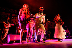 ©London News Pictures. Glastonbury Festival 2015<br /> <br /> Ají Pa' Ti band perform on Glasto Latino stage on Thursday, Worthy Farm in Pilton.<br /> <br /> Date: 25/06/2015<br /> Photographer: Artur Lesniak /LNP