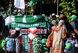 A general view of England and Pakistan merchandise on sale before the ICC Champions Trophy, semi-final match at the Cardiff Wales Stadium.