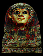 Egyptian Funerary mask painted and gilded. Circa 664-332BC