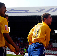 Photo: Alan Crowhurst.<br />Brentford v Nottingham Forest. Coca Cola League 1. 14/04/2007. Forest's Grant Holt celebrates his goal from the penalty spot 2-3.