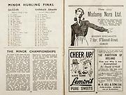 All Ireland Senior Hurling Championship Final,.Brochures,.07.09.1947, 09.07.1947, 7th September 1947,.Kilkenny 0-14, Cork 2-7,.Minor Galway v Tipperary, .Senior Kilkenny v Cork, .Croke Park,..Galway Minor Team, S Leaper, D O Suilleabain, P O Dalaig, S Mac Crait, M Mac Crait, P Mac Con Raoi, M De Paor, T O Murcada, S O Bradain, M Mac Eogain, P O Ruanaid, C Mac Con Mide, Captain, D O Maolalard, S O Mainnin, S O Duibeagain, S O Ceallaig, M Mac Cordin, S De Stainleig, T O Maolain, L O Maol Micil, ..Tipperary Minor Team, S O Gradaig, S O Dubgaill, S S Mac Cormaic, D Moicleir, C O Catain, S O Riain, S O Tuama, M O Riain, S O Feargaill, D De Buitleir, P D Mac An Ultaig, T S O Meadra, M De Buitleir, L O Sceallaig, P O Cruadlaoic, S Mac Domnaill, S O Riain, M O Meacair, T De Buitleir, P O Fainnin, ..Article, The Minor Championships, ..Advertisements, Madame Nora Ltd Hosiery Specialists, Lemons Pure Sweets, The Partition of Ireland How and Why it was Accomplished by David O'Neill M H Gill & Son Ltd Publishers,