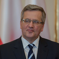 Bronislaw Komorowski president of Poland talks during a press conference in Budapest, Hungary on March 21, 2014. ATTILA VOLGYI