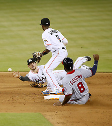 June 20, 2017 - Miami, FL, USA - The Washington Nationals' Brian Goodwin (8) slides safely into second base as Miami Marlins shortstop J.T. Riddle throws to second baseman Dee Gordon during the ninth inning at Marlins Park in Miami on Tuesday, June 20, 2017. The Nats won, 12-3. (Credit Image: © David Santiago/TNS via ZUMA Wire)