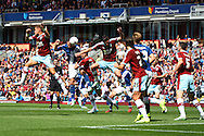 Jonathan Grounds of Birmingham City gets his head to the ball but sees his effort at goal blocked. Skybet football league championship match, Burnley  v Birmingham City at Turf Moor in Burnley, Lancs on Saturday 15th August 2015.<br /> pic by Chris Stading, Andrew Orchard sports photography.