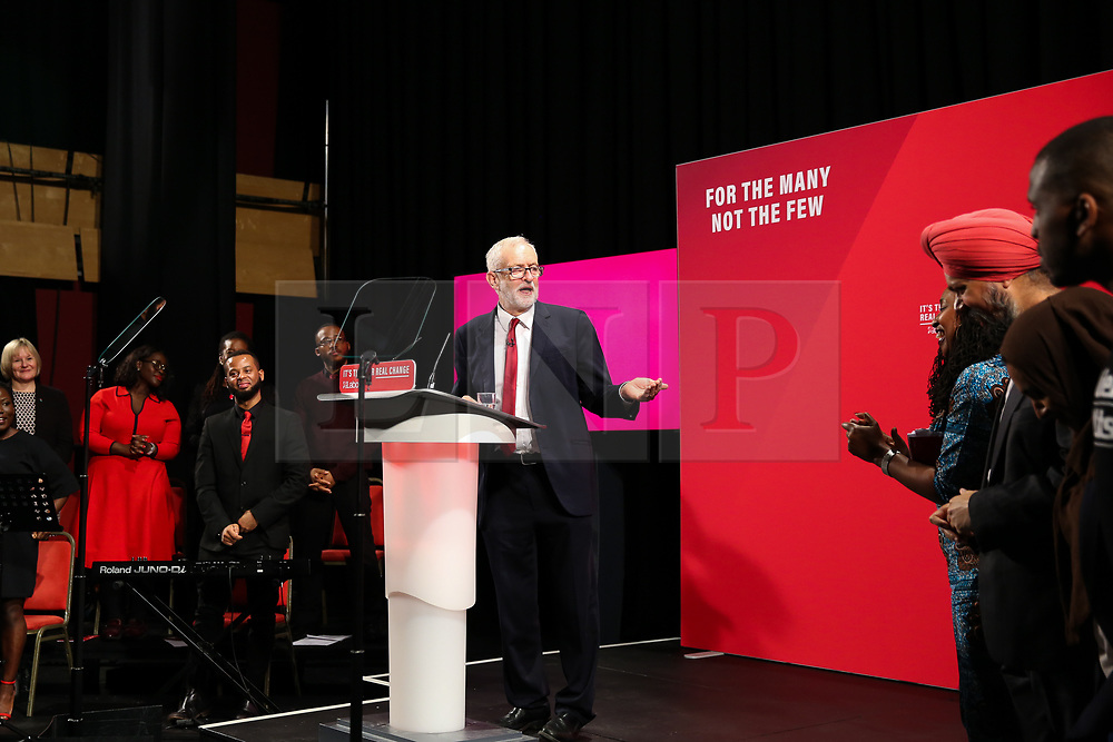 © Licensed to London News Pictures. 26/11/2019. London, UK. Labour Party Leader, JEREMY CORBYN, speaks at the launch of Labour Party's Race and Faith Manifesto at the Bernie Grant Arts Centre in Tottenham, North London. DAWN BUTLER launched the Race and Faith consultation at Labour Party conference, which received over 1,700 online responses, and held consultation events across the country to get to the issues affecting Black, Asian and Minority Ethnic (BAME) and faith communities. Photo credit: Dinendra Haria/LNP