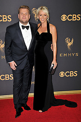 James Corden (L) and producer Julia Carey at the 69th Annual Emmy Awards held at the Microsoft Theater on September 17, 2017 in Los Angeles, CA, USA (Photo by Sthanlee B. Mirador/Sipa USA)