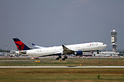 N813NW Delta Air Lines Airbus A330-302 at takeoff at Malpensa (MXP / LIMC), Milan, Italy
