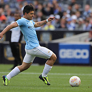 Sergio Aguero, Manchester City, in action during the Manchester City V Chelsea friendly exhibition match at Yankee Stadium, The Bronx, New York. Manchester City won the match 5-3. New York. USA. 25th May 2012. Photo Tim Clayton