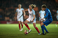 Toni Duggan (England) (Manchester City) changes direction with the ball during the Women's International Friendly match between England Ladies and Italy Women at Vale Park, Burslem, England on 7 April 2017. Photo by Mark P Doherty.
