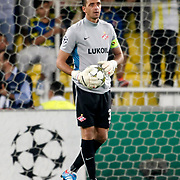 Spartak Moscow's goalkeeper Andriy Dykan during their UEFA Champions League Play-Offs, 2nd leg soccer match Fenerbahce between Spartak Moscow at Sukru Saracaoglu stadium in Istanbul Turkey on Wednesday 29 August 2012. Photo by TURKPIX