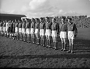 28/10/1953<br /> 10/28/1953<br /> 28 October 1953<br /> Soccer: Ireland v Luxembourg, World Cup Qualifier at Dalymount Park, Dublin. The Luxembourg team line out.