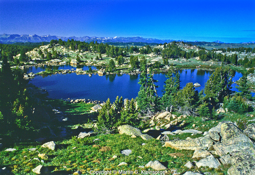 One of the many small lakes on the Beartooth Plateau of the Beartooth Mountains, Wyoming.