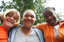 Portrait of three teenage girls,