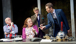 Clarion <br /> by Mark Jagasia <br /> directed by Mehmet Ergen <br /> at the Arcola Theatre, London, Great Britain <br /> press photocall <br /> 16th April 2015 <br /> <br /> Clare Higgins as Columnist Verity Stokes<br /> <br /> <br /> Peter Bourke as Managing Editor Clive Pumfrey <br /> <br /> Photograph by Elliott Franks <br /> Image licensed to Elliott Franks Photography Services