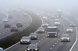 © Licensed to London News Pictures. 16/09/2014<br />A foggy morning for drivers today(16.09.2014)<br /> Foggy driving conditions this morning on the M25 at Swanley in Kent Traffic clock-wise into Kent.<br />(Byline:Grant Falvey/LNP)