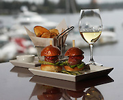 Scallop sliders with potato chips and white wine.<br /> Mark Harrison / The Seattle Times