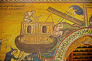 Medieval Byzantine mosaics of Noah building the arc, Monreale Cathedral, Sicily .<br /> <br /> If you prefer you can also buy from our ALAMY PHOTO LIBRARY  Collection visit : https://www.alamy.com/portfolio/paul-williams-funkystock/monrealeduomomosaics.html. Refine search by adding subject etc  into the LOWER SEARCH WITHIN GALLERY box. <br /> <br /> Visit our BYZANTINE MOSAIC PHOTO COLLECTION for more   photos  to download or buy as prints https://funkystock.photoshelter.com/gallery-collection/Roman-Byzantine-Art-Artefacts-Antiquities-Historic-Sites-Pictures-Images-of/C0000lW_87AclrOk