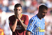 Lorenzo Pellegrini Roma, Thiago Cionek Spal<br /> Roma 20-10-2018 Stadio Olimpico<br /> Football Calcio Campionato Serie A<br /> 2018/2019 <br /> Roma - Spal<br /> Foto Antonietta Baldassarre / Insidefoto