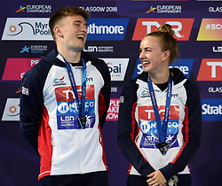 Great Britain's Matthew Lee and Lois Toulson winners of the silver medal in the Synchronised 10m Platform Diving during day ten of the 2018 European Championships at the Royal Commonwealth Pool, Edinburgh. PRESS ASSOCIATION Photo. Picture date: Saturday August 11, 2018. See PA story DIVING European. Photo credit should read: Ian Rutherford/PA Wire. RESTRICTIONS: Editorial use only, no commercial use without prior permission