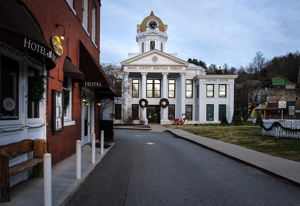 BRYSON CITY, NORTH CAROLINA - CIRCA DECEMBER 2019: Swain County Heritage Museum in Bryson City, North Carolina