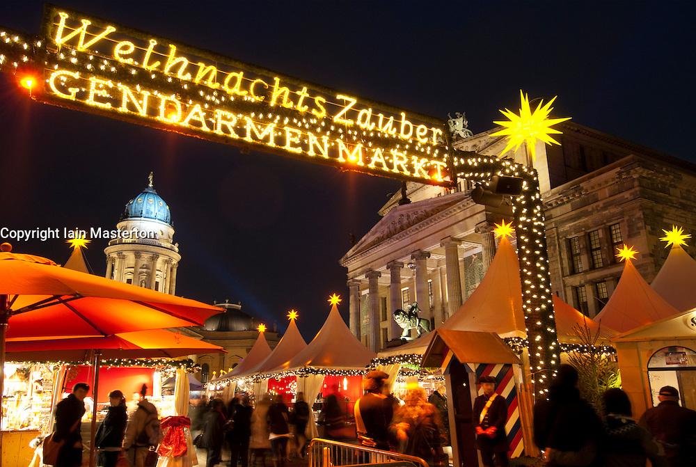 Christmas Market at Gendarmenmarkt in central Berlin Germany 2009
