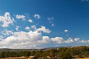 View from Domaine de la Tour du Bon, mountains, blue sky and white clouds Domaine de la Tour du Bon Le Castellet Bandol Var Cote d'Azur France