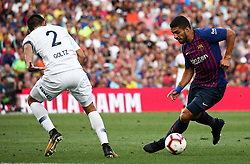 August 15, 2018 - Barcelona, Spain - Paolo Goltz and Luis Suarez during the match between FC Barcelona and C.A. Boca Juniors, corresponding to the Joan Gamper trophy, played at the Camp Nou, on 15th August, 2018, in Barcelona, Spain. (Credit Image: © Joan Valls/NurPhoto via ZUMA Press)