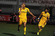 Newport county's Chris Zebroski celebrates after he scores his sides 1st goal to make it 1-1. Skybet football league two match, Newport county  v Plymouth Argyle at Rodney Parade in Newport, South Wales on Tuesday 8th April 2014.<br /> pic by Andrew Orchard, Andrew Orchard sports photography.