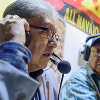 072115       Cable Hoover<br /> <br /> Navajo Election Administration executive director Edison Wauneka, left, is interviewed by Navajo language station KGAK broadcaster Harrison Dehiya as polling results are posted Tuesday at the Navajo Nation Museum in Window Rock.