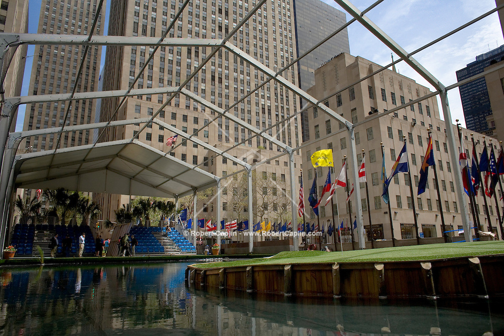 A 1/4 scale version of the TPC Sawgrass 17th hole was constructed at Rockefeller Center in Manhattan.