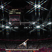 Linlin Deng, China, during her Gold Medal performance during the Women's Gymnastics Apparatus Beam final at North Greenwich Arena during the London 2012 Olympic games London, UK. 7th August 2012. Photo Tim Clayton