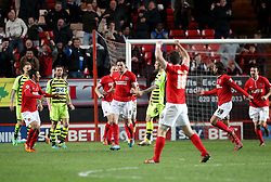 Charlton Athletic's Dorian Dervite celebrates scoring his sides second goal 2-1 - Photo mandatory by-line: Robin White/JMP - Tel: Mobile: 07966 386802 08/04/2014 - SPORT - FOOTBALL - The Valley - Charlton - Charlton Athletic v Yeovil Town - Sky Bet Championship