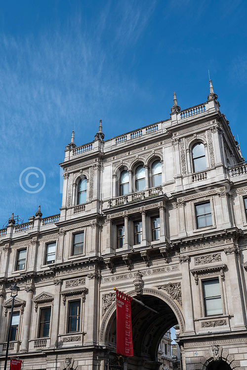 The exterior building of the Royal Academy of Arts at Burlington House on Piccadilly on the 26th September 2019 in London in the United Kingdom.