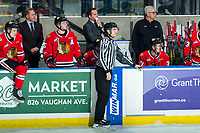 KELOWNA, BC - FEBRUARY 8: Portland Winterhawks' Head Coach and GM, Mike Johnston and Associate Coach and Asst. GM, Kyle Gustafson, stand on the bench during third period at the Kelowna Rockets at Prospera Place on February 8, 2020 in Kelowna, Canada. (Photo by Marissa Baecker/Shoot the Breeze)